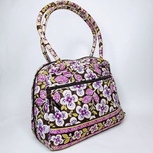Vera Bradley Violet Flower Covered 3/4 Zip Bag